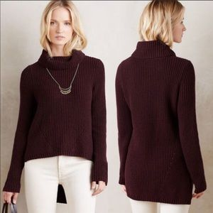 Anthropologie MOTH cowl neck sweater small Plum